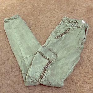 Zara Military Green Skinny Jeans